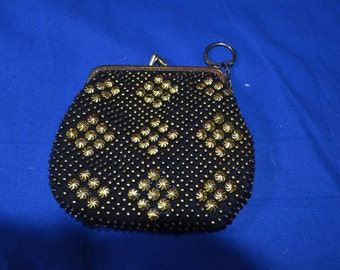 ON SALE  Black Change Purse Covered With Decorative Studs