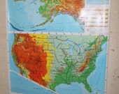 "Vintage Retro Rand McNally Level III US Pull Down Map 54""x72.5"" 114-12195-8"
