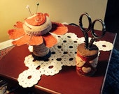 Primitive Love Birds and Hearts Spool Pincushion and Scissor Stand Set