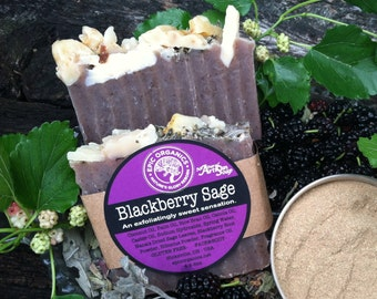 BLACKBERRY SAGE -Exfoliating Soap-Vegan-Gluten Free-Body Bar-Fruity
