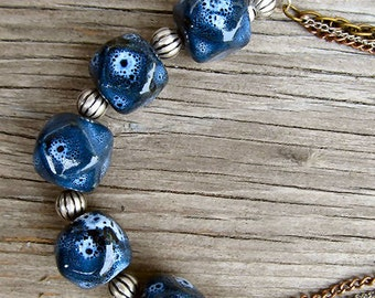 Navy Blue chunky ceramic beaded necklace multi strand necklace