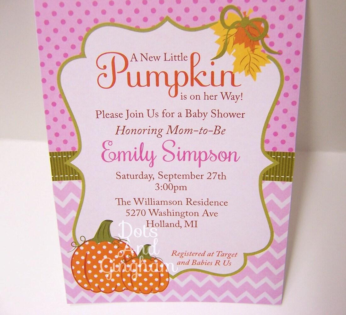 pumpkin baby shower invitation fall baby shower by dotsandgingham