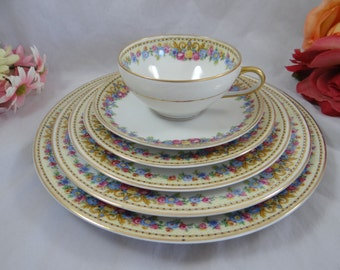 Rare 1930s Charles Ahrenfeldt Limoges France 6 Piece Place Setting - 6 available
