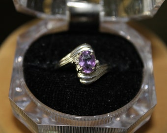 Amethyst Stone in a Sterling Silver Ring Size 7
