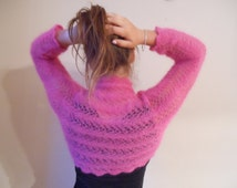 Knitted  Shrug Bolero Wedding Summer Shrug Lace Pink Mohair Silk