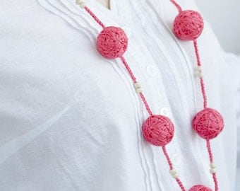 Coral beads handmade necklace textile wooden beads natural bright