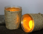 Jute Wrapped Glass Candle Holder with Candle