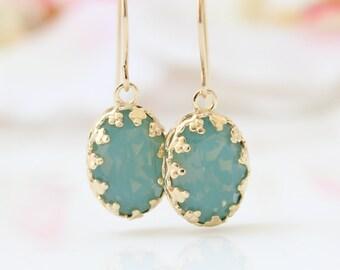 Mint Opal Earrings   Gold filigree earrings set with Swarovski crystals