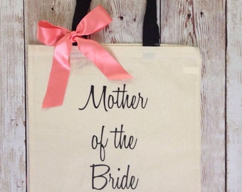Mother of the Bride Tote Bag with Bow. Bride, Bridesmaid, Maid of Honor, Matron of Honor, Groom. Wedding Bridal Gift. Bridal Party tote bags