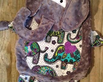 Elephant Tag Blanket, Boho Print, Animal Blanket, Sensory Blanket, Lovie, Elephant Theme, Taggie Blanket
