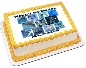 On Sale- Personalized Edible Icing Frosting Image Birthday Dolphins Porpoises Ocean Sea Life Cake Topper (E025)