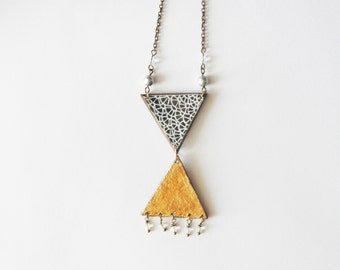 Triangles X. Giornata e Luna series. necklace hand cut and handpainted, watercolour wood Made to order