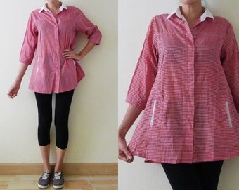 Vintage red and white gingham loose cotton blouse, elbow sleeve top, button up summer shirt, white collar, with pockets, zakka, comfy, S-M-L