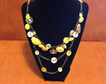 Yellow Button Necklace
