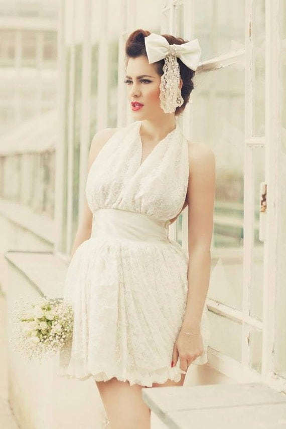 Ivory short 1950s inspired mini wedding dress short wedding for Wedding dresses pin up style