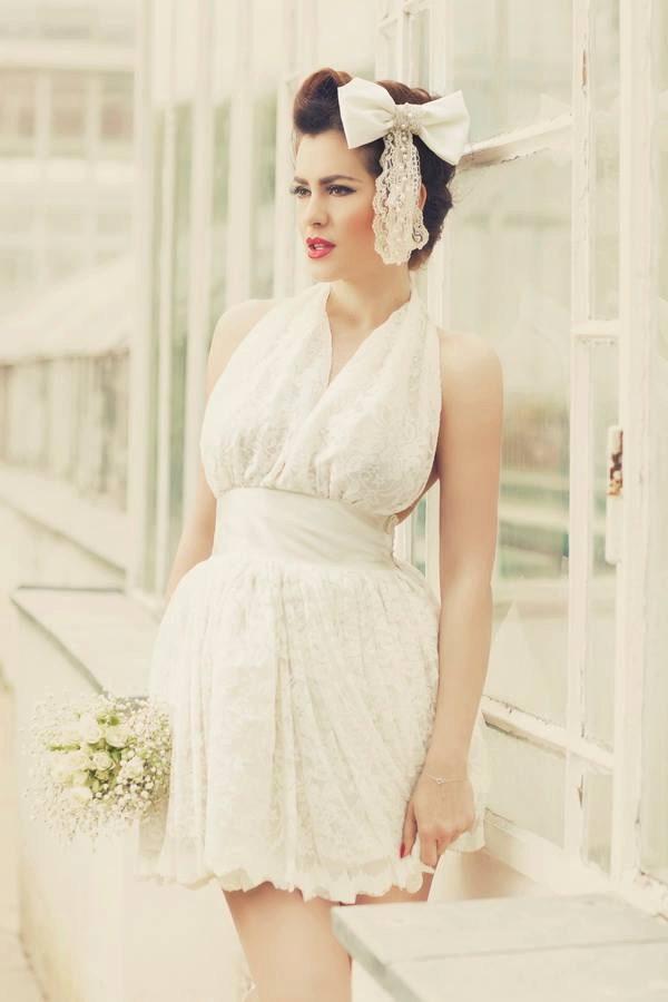 Ivory short 1950s inspired mini wedding dress short wedding for Pin up inspired wedding dresses