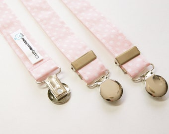 Suspenders - Light Pink with White Polka Dots Adjustable Suspenders
