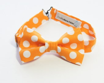 Bow Tie - Orange with Polka Dots Bowtie