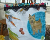 Colorful, Bright  dog recycled  Food Bag Tote -  Repurposed feed bag