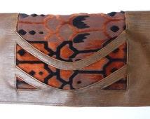 SALE 1920s Purse Leather and Cut Velvet Clutch Purse Art Deco Style Flapper Envelope Bag Evening Bag