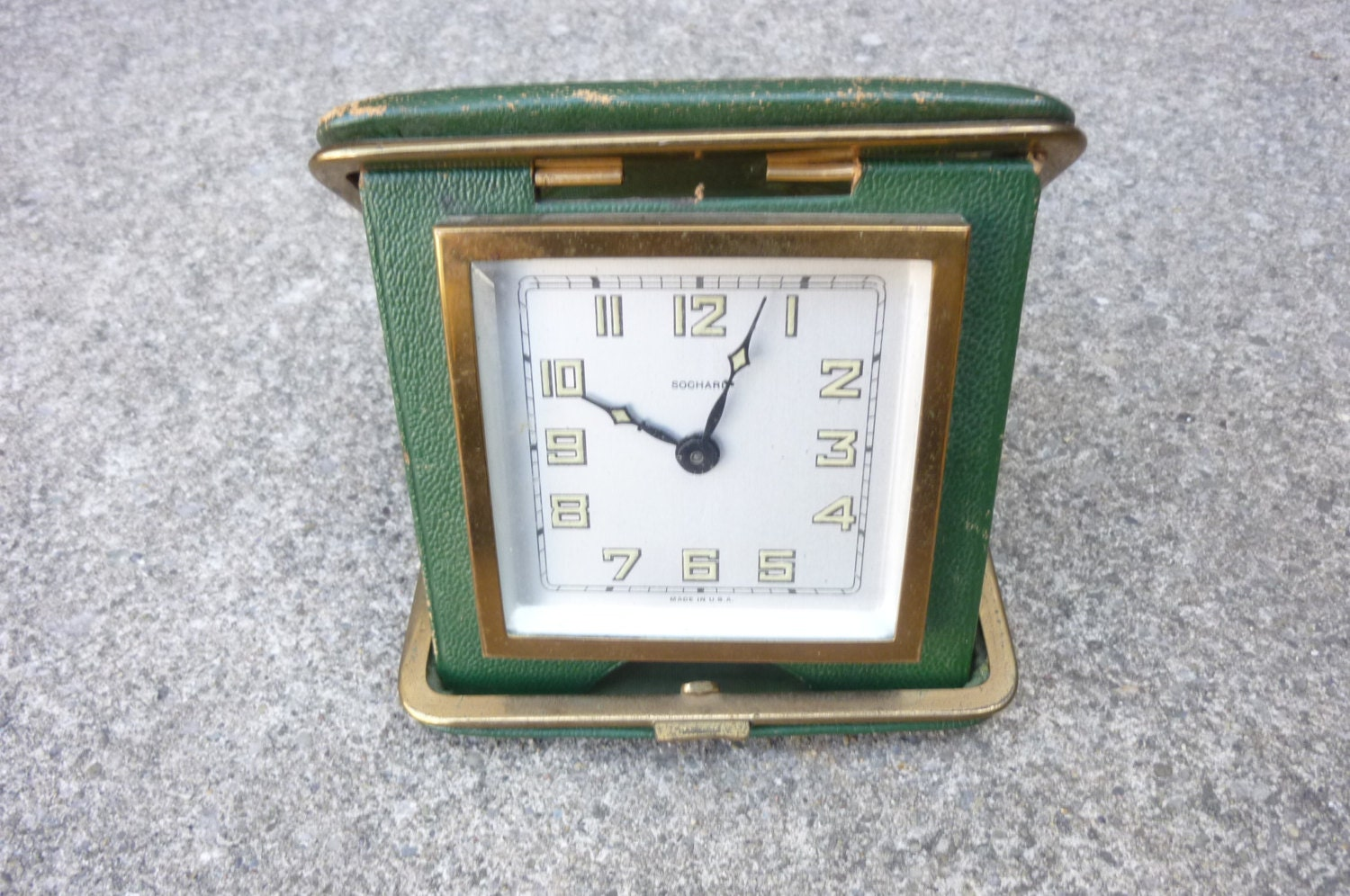 Vtg Clock Travel Alarm Clock In Green Leather Case 1950s Made