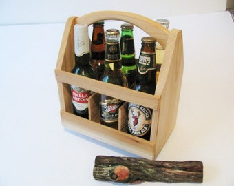 Seven ECONOMY Wood 6 Pack Bottle Carrier, Beer Boat or Beer Tote, Gifts for Men, Gifts for Dad, Groomsmen Gifts