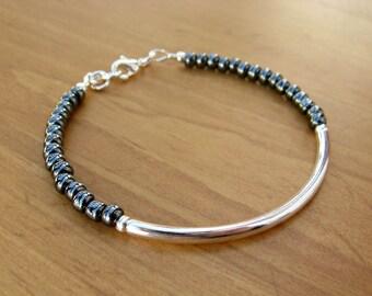 Silver Bangle Bracelet with Glossy Black Seed Beads, Silver Tube Bracelet, Silver Bracelet, Beaded Bracelet