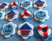 Dozen fondant nautical themed cupcake toppers, fondant lifesaver, fondant sailboat, fondant anchors,nautical baby shower,sea life birthday