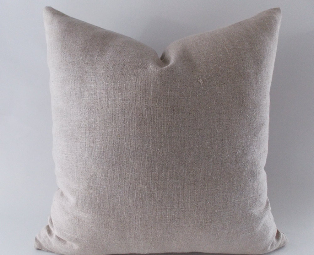 Beige Linen Pillow Cushion Linen Cover Decorative Throw