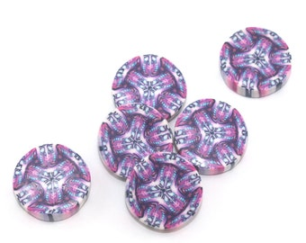 Kaleidoscope beads, pink, purple and white kaleidoscope, round flat beads, Polymer clay beads, set of 6 millefiori beads