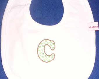 Personalized embroidered initial bib