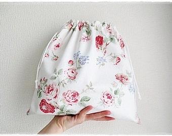 Rose drawstring bag or laundry bag white cotton drawstring bag white cotton laundry bag
