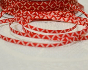 1/8 inch narrow grosgrain ribbon red with white woven zigzag pattern 5 yards sale clearance
