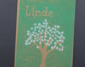Baby announcement - letterpress & lino: tree