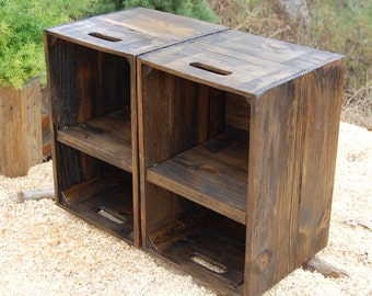 Wooden Crates/ Nightstand/ Pair of Side Tables/ Reclaim Wood