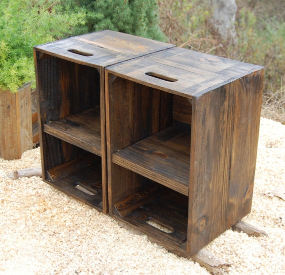 Wooden crates nightstand pair of side tables reclaim wood for Wooden crate bedside table