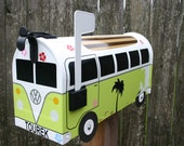 EXAMPLE - Custom Made To Order Surf Themed Volkswagen Bus Mailbox by TheBusBox Lime Green - EXAMPLE - Choose Your Color - CustomBox