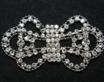 Soft rhinestone crystal Chain wedding applique, Rhinestone appliqué,Bow rhinestone appliqué, Butterfly crystal buckle  - NOTHING AT BACK