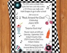 50's Theme Invitation | Adult Birthday | Printable Editable Digital PDF File | Instant Download | ABI100DIY