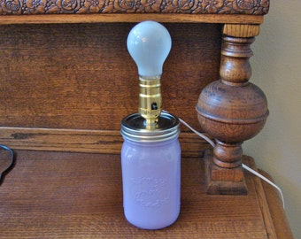 Handmade Mason Jar Lamp - Milky Lilac Mason Jar