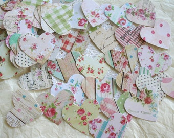 Handmade Confetti, country chic Hearts LARGE 2""