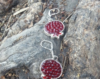 Red Pomegranate Earrings, Silver Earrings, Resin Jewelry