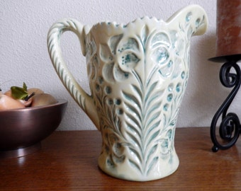 Sage & Vanilla Etched Pottery Pitcher - Signed