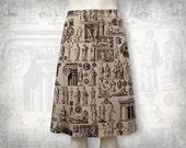 Antiquities skirt --Stretch cotton sateen skirt A-line-Taupe