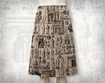 Antiquities skirt --Stretch cotton sateen skirt A-line-Taupe