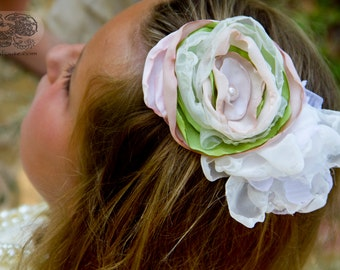 flower hair clip, easter clip, pink and green hair clip, fabric flower hairpiece, hair flower, wedding hair clip, flower girl hair clip,