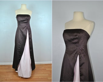 Vintage Brown and Pink Formal Dress, Vintage Fall Formal Dress, Vintage Zum Zum Dress