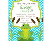 Frog Invitation - Bright Blue Chevron, Adorable Little Green Toad Frog Personalized Birthday Party Invite - Digital Printable File