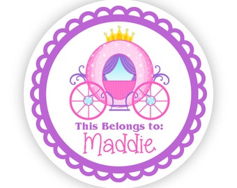 Personalized Name Tag Stickers - Purple Pink, Fairytale Princess Carriage Name Tag Stickers - 2 inch Round Tags - Back to School Name Labels