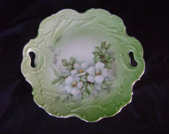 Beautiful Hand Painted 9 inch Dish - Holly and Dogwood - 24 kt gold trim - Christmas